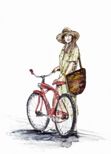 水彩绘骑自行车的女生