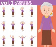 可爱老奶奶矢量人物各种表情素材