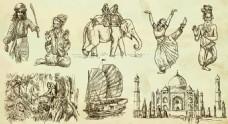手绘特色建筑和人物