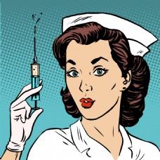 欧美护士卡通海报漫画风格人物矢量素材