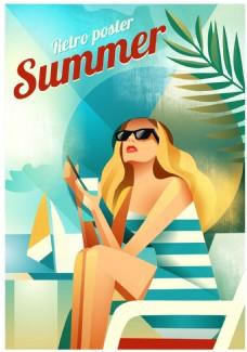 沙滩上度假的美女插画