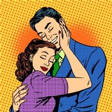 情人卡通海报漫画风格人物矢量素材