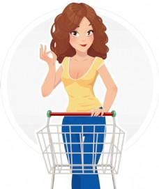 推购物车的女人插画