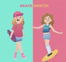 2款卡通玩滑板的女孩矢量