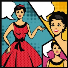 红裙公主欧美卡通海报漫画风格人物矢量素材
