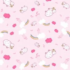 日韩卡通背景底纹 羊 彩虹
