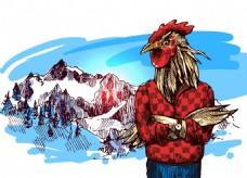 穿着毛衣的公鸡雪山冬季动物拟人装饰画矢量