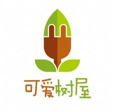可爱树屋logo冰淇淋绿叶