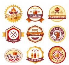 9款扁平化野餐烧烤标签矢量