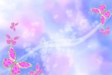 粉蝴蝶炫彩背景