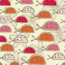 卡通瓢虫花卉 矢量印花