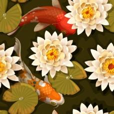 美丽的锦鲤和荷花背景