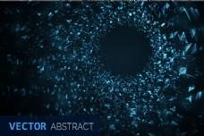 蓝色科技感不规则碎片矢量背景