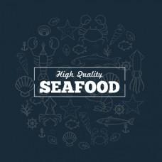 海鲜促销海洋生物素描背景