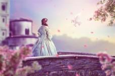 送信鸽子与美女梦幻背景