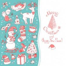 蓝色小清新卡通圣诞节矢量背景元素