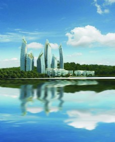 海边建筑风景背景