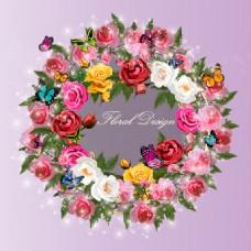 彩色玫瑰花花环和蝴蝶矢量素材