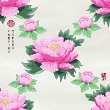 交叉中国风牡丹花图形花纹VI设计