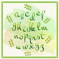 手绘水彩字母和树叶