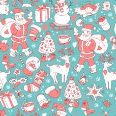 蓝色背景可爱冬季圣诞雪人涂鸦卡片矢量
