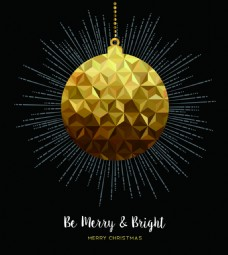 几何多边形发光圣诞球圣诞节金色设计矢量