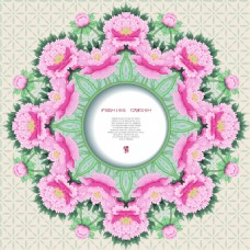 粉色中国风牡丹花图形花纹VI设计矢量