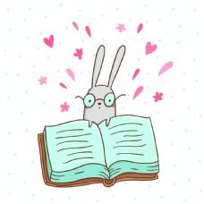 可爱的兔子和一本大书的矢量插图