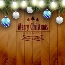 咖啡色木板梦幻主题圣诞海报矢量设计