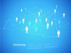 科技人物全球化网络抽象矢量背景