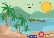 沙滩度假矢量素材