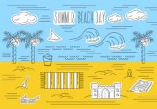 夏天沙滩线条背景素材
