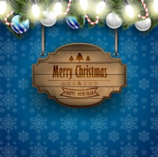 蓝色背景雪花主题圣诞海报矢量设计