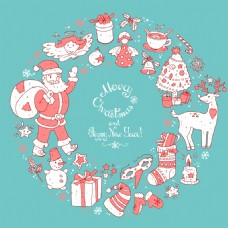 卡通圣诞节矢量背景元素