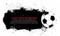 黑色水墨足球矢量海报