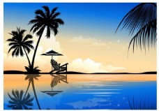 夏天蓝色沙滩风景图