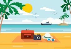 沙滩旅游矢量素材
