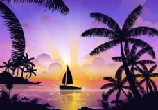 夏天沙滩傍晚风景素材