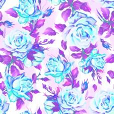 手绘蓝色玫瑰花背景