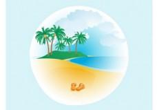 孤岛沙滩矢量素材