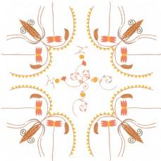 橙色花卉图案