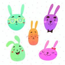 有趣的兔子脸向量集