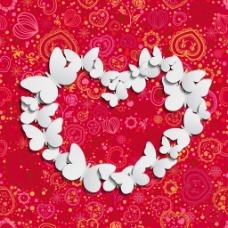 白色蝴蝶红色爱心花纹背景素材