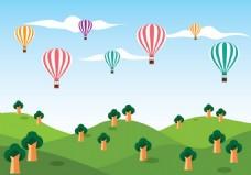 绿色草地热气球矢量素材