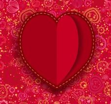 爱心花纹红色背景
