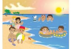 儿童沙滩玩耍矢量素材