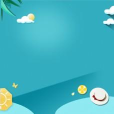 蓝色渐变夏季海滩美妆洗护海报主图psd
