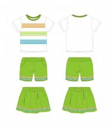 夏装童装圆领条纹装饰T恤服装设计款式图
