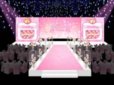 粉色机器猫婚礼舞台效果图
