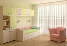 清新简约儿童房效果图图片